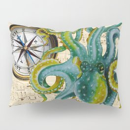 Octopus Compass Green Music Collage Pillow Sham