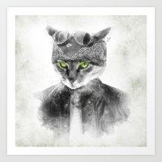 Biker Cat Art Print