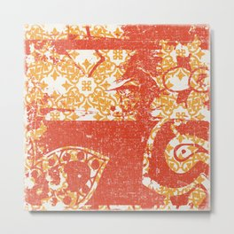 Crayon Bright Grunge Orange Abstract Metal Print