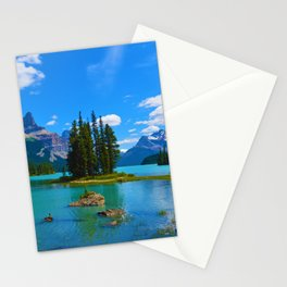 Spirit Island on Maligne Lake in Jasper National Park, Canada Stationery Cards
