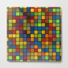 Colorful Squares Pattern  Geometric Art Gift Metal Print