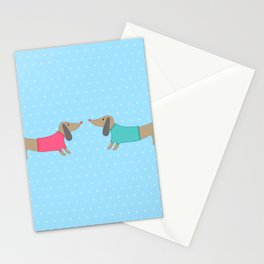 Cute dogs in love with dots in blue background Stationery Cards