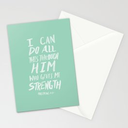 Philippians 4: 13 x Mint Stationery Cards
