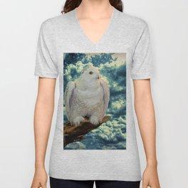 Snowy Owl against Aqua Sky Country Decor A147 Unisex V-Neck