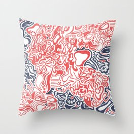 Orange and Blue Line Art Throw Pillow