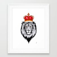 the lion king Framed Art Prints featuring Lion King by Libby Watkins Illustration