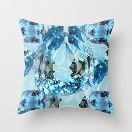 March Babies Blue Aquamarine Gems Abstract design. Throw Pillow
