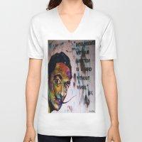 salvador dali V-neck T-shirts featuring Salvador Dali by Ruby Chavez