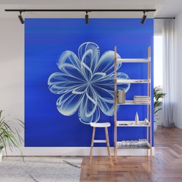 White Bloom on Blue Wall Mural