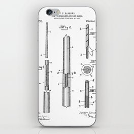 Pool Cue Patent - 9 Ball Art - Black And White iPhone Skin