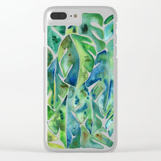 Split Leaf Philodendron – Green Clear iPhone Case