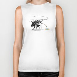 Rat and rainbow. Black on white background-(Red eyes series) Biker Tank