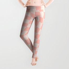 Check VII - Pink Twist — Checkerboard Print Leggings