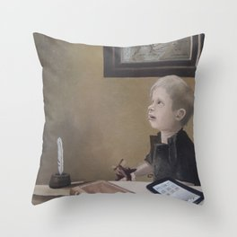 Boy With A Red Airplane  Throw Pillow