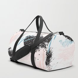 Exotic leaves on grunge background Duffle Bag