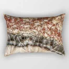 Agate Crystal VI // Red Gray Black Yellow Orange Marbled Diamond Luxury Gemstone Rectangular Pillow