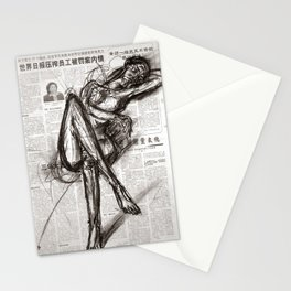 Brave - Charcoal on Newspaper Figure Drawing Stationery Cards