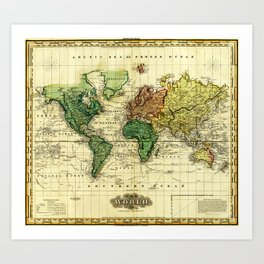 Vintage Map of The World (1823) - Stylized Art Print