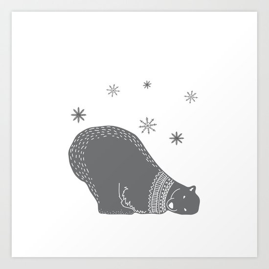 Merry christmas- Polar bear - Animal Watercolor Illustration Art Print