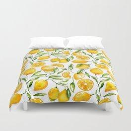lemon watercolor print Duvet Cover