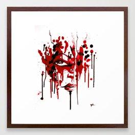 Encres rouge Framed Art Print