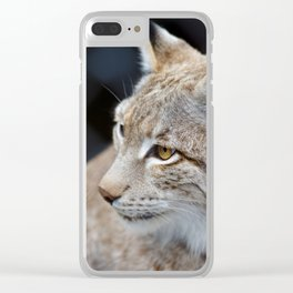 Young lynx close-up portrait Clear iPhone Case