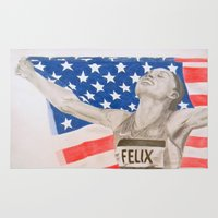 allyson johnson Area & Throw Rugs featuring Allyson Felix by Moira Sweeney