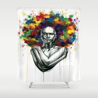 afro Shower Curtains featuring Afro mess by Psyca