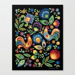 Polish Folk Roosters Canvas Print