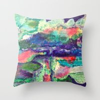 portlandia Throw Pillows featuring Heavy/Light by Beth Ann Short by Beth Ann Short