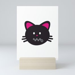 One Tooth Black Cat Zipper Mouth Kitten Face Mini Art Print