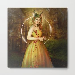 Autumn Woodland Fairy Metal Print