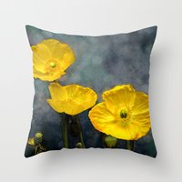 iceland Throw Pillows featuring  Iceland poppy  by LudaNayvelt