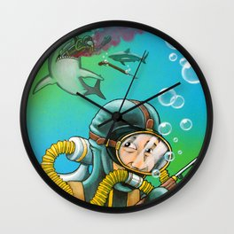 Shark Diving Disaster Wall Clock