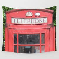 telephone Wall Tapestries featuring Telephone Booth by Certified Cat