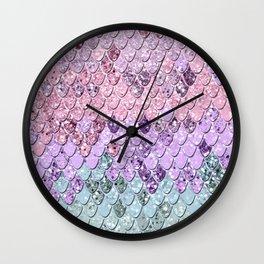 Mermaid Scales with Unicorn Girls Glitter #1 #shiny #pastel #decor #art #society6 Wall Clock