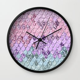 Mermaid Scales with Unicorn Girls Glitter #1 #shiny #pastel #decor #art #society6 Wall Clock