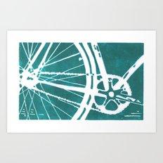 Teal Bike Art Print