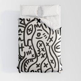 Graffiti Street Art Black and White Comforters