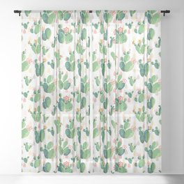 Cactus pattern Sheer Curtain