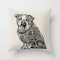 english bulldog Throw Pillows featuring Polynesian English Bulldog by Huebucket