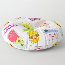 Hello Summer. Pineapple, cherry smoothie cup, ice cream, sun, cat, cake, hamster. Kawaii cute face. Floor Pillow