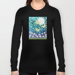 the moon, stars, luna moths, & dandelions Long Sleeve T-shirt