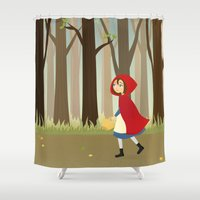 red riding hood Shower Curtains featuring Red Riding Hood by Sara Showalter