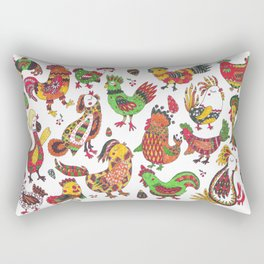 Roosters and hen pattern Rectangular Pillow