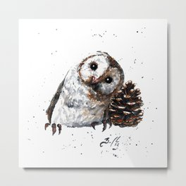 Owl + Pine Cone Metal Print