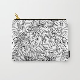 Wander in Black & White - Dreamy Ink Drawing Carry-All Pouch