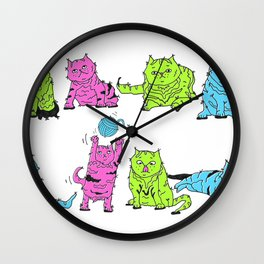 Fluro Cats Wall Clock
