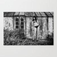 bikini Canvas Prints featuring Black Bikini. by davehare