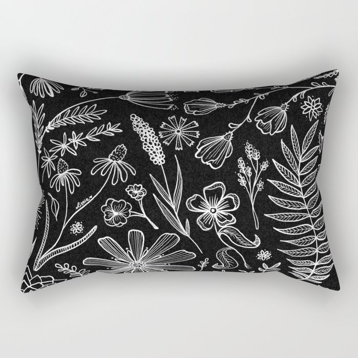 Floral Pattern II Black and White Rectangular Pillow